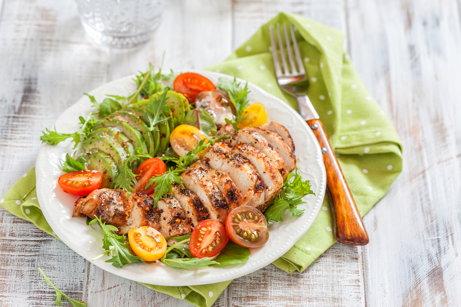 Sample Ketogenic Diet Meal Plan - Healthy food. Salad plate with colorful tomatoes, chicken breast and avocado